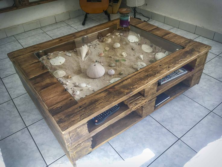 I made this Beachy-Keen Pallet Coffee Display Table using six …    Read More »  #LivingRoom, #RecyclingWoodPallets #PalletCoffeeTables