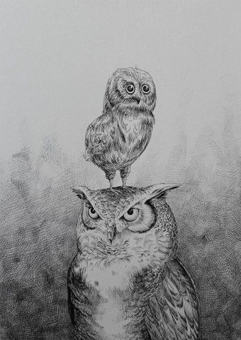 Løfberg - Father & Son (Owls) A3