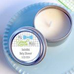 Light the way for baby's arrival with personalized chalkboard round candle tins!