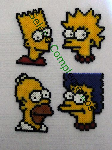 The Simpsons hama beads mini by Selene_pins