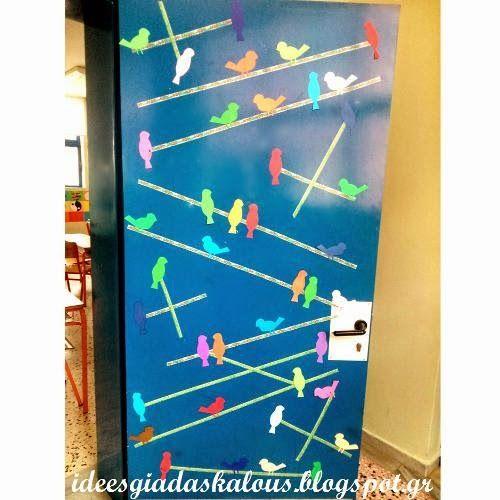 Ιδέες για δασκάλους: Διακόσμηση πόρτας: Πουλάκια στα σύρματα