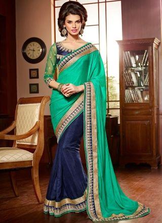 Captivating Blue And Sea Green Half N Half Bridal Saree http://www.angelnx.com/Sarees/