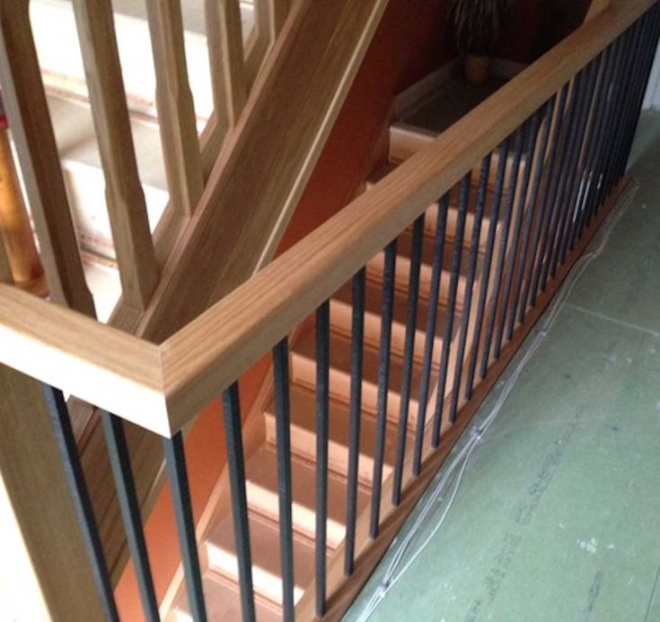 Traditional Staircase With Wroughtiron Metal Stair Spindles