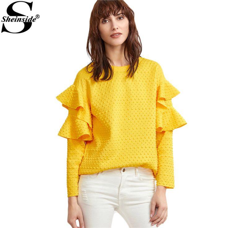 Sheinside Layered Ruffle Sleeve Blouses Women Yellow Polka Dot Embossed Cute Tops 2017 New Fashion Spring Casual Elegant Blouse