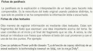 Ficha de paráfrasis y cita textual