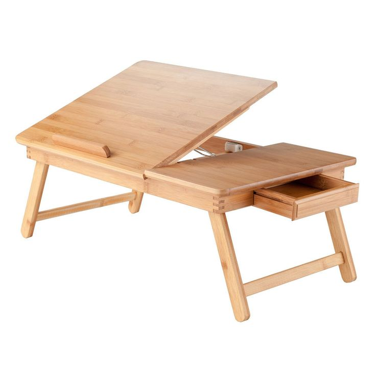 Portable Lap Desk Tray Table Stand Wood Adjustable