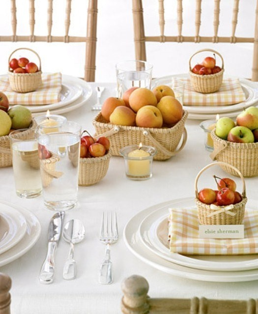 Nantucket baskets, gingham linens, fresh fruit ~