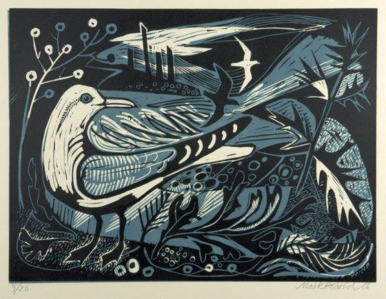 st judes, mark hearld, printmaking, seagull, bird, nature, print, pattern, layers, illustration, sea, shore