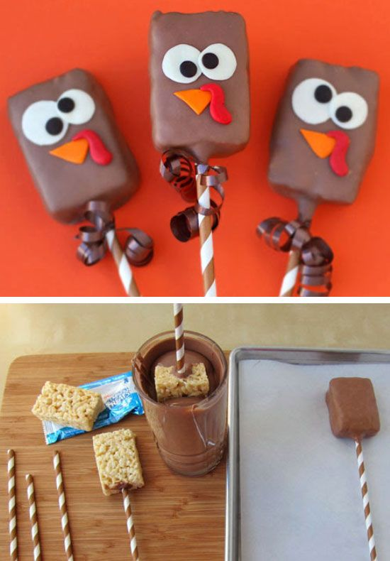 Chocolate Dipped Rice Krispies Treat Turkey Pops | Click for 30 DIY Thanksgiving Crafts for Kids to Make | Easy Thanksgiving Crafts for Toddlers to Make: