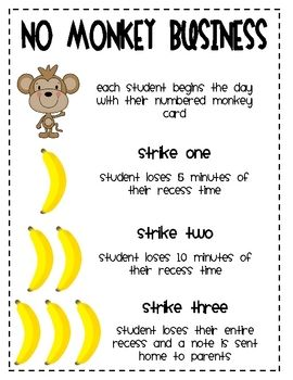 No Monkey Business Behavior Cards-change to make first strike a warning and earning something is 0-1 strike