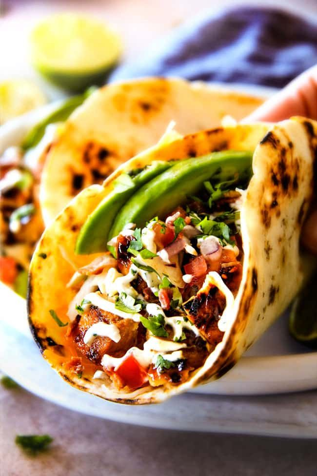 Honey Chipotle Chicken Tacos stuffed with juicy, flavor packed Honey Chipotle Bacon Chicken piled with crispy BLT Slaw and Cilantro Lime Crema!
