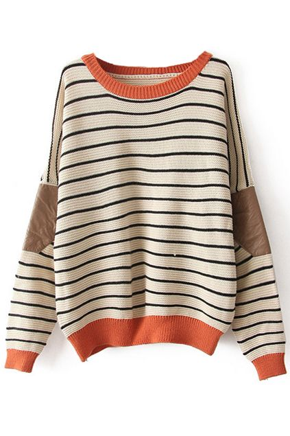 New Fashion Cream Striped Bat Sleeve Sweater &Cardigan only $33