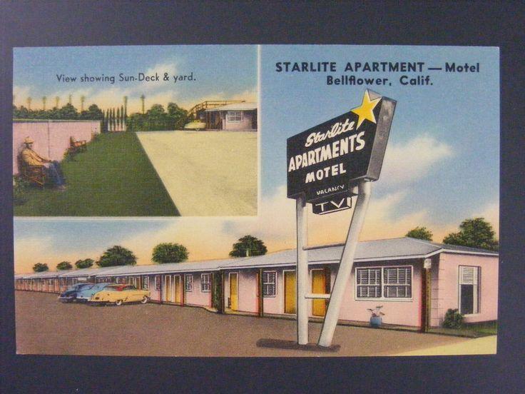 Bellflower California CA Starlite Aparments Motel Linen Postcard 1940s  Vintage
