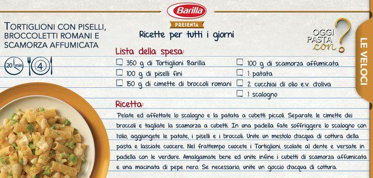 Tortiglioni con piselli, broccoletti romani e scamorza: #Oggipastacon tanto gusto!