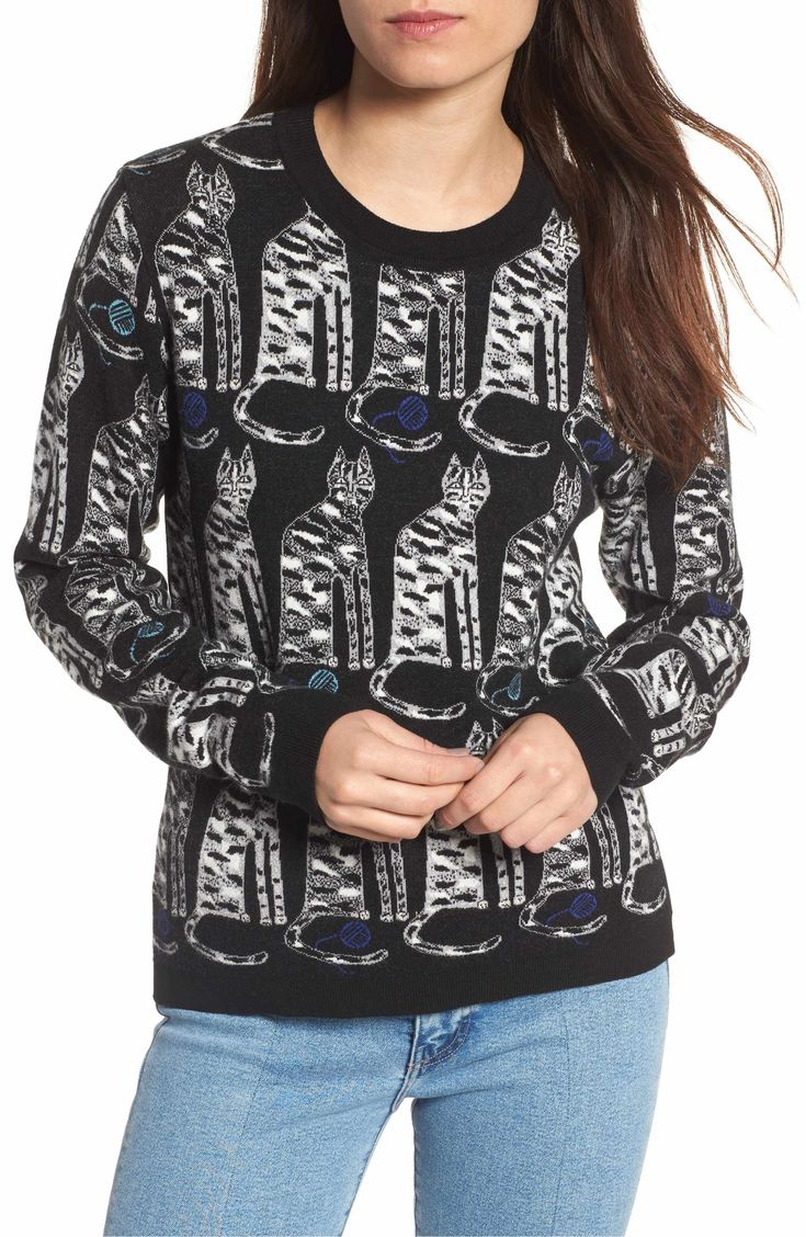 or with silver appliques Main Image - Paul & Joe Sister Intarsia Cat Sweater