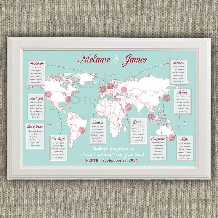Reisen Sie Thema Hochzeit Seating Chart Weltkarte von redlinecs