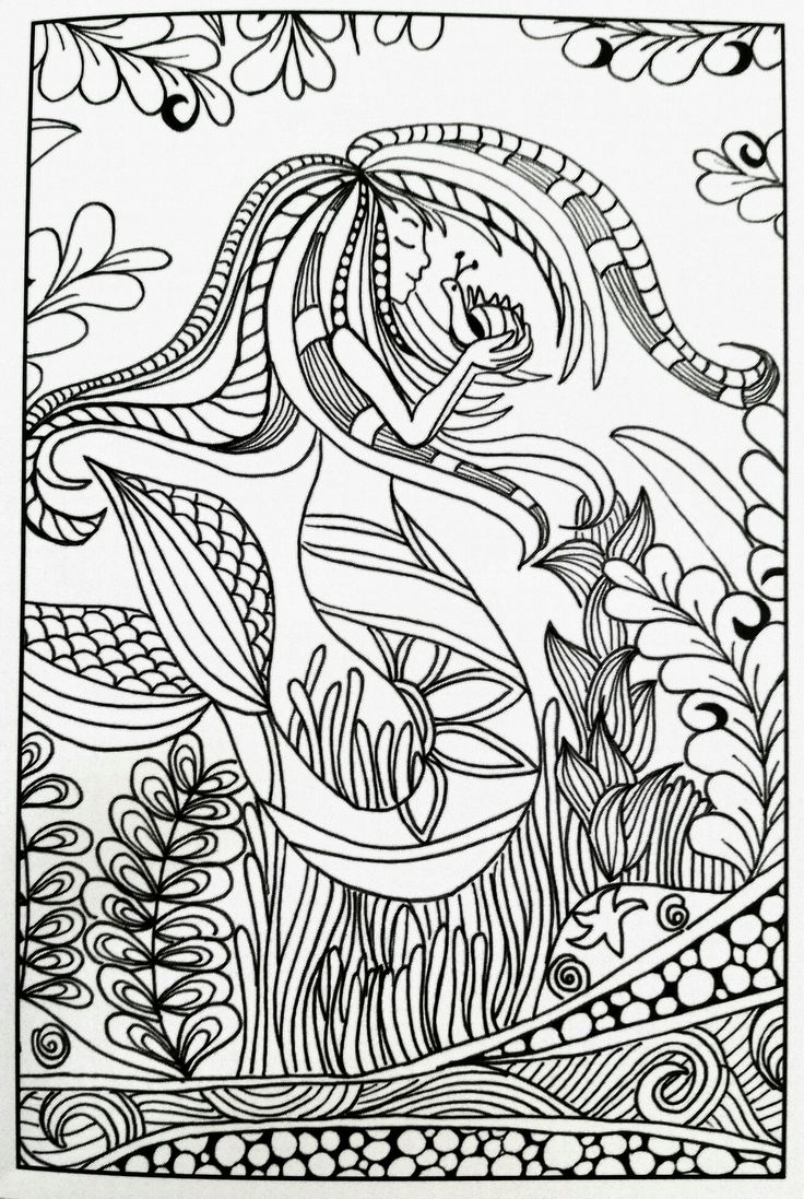 Coloring pages adults mermaids - Mermaid Inkspirations Adult Coloring Page