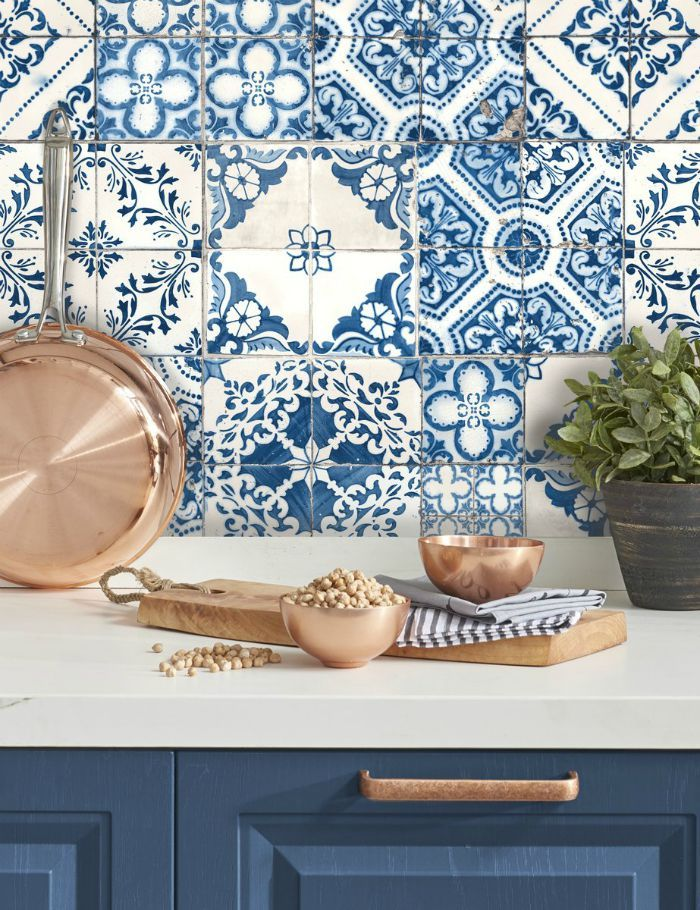 16 Creative Ways To Use Peel And Stick Wallpaper Living In A Shoebox Mediterranean Decor Mediterranean Home Decor Mediterranean Tile