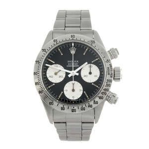 LOT:283 | ROLEX - a gentleman's stainless steel Oyster Cosmograph Daytona chronograph bracelet watch.