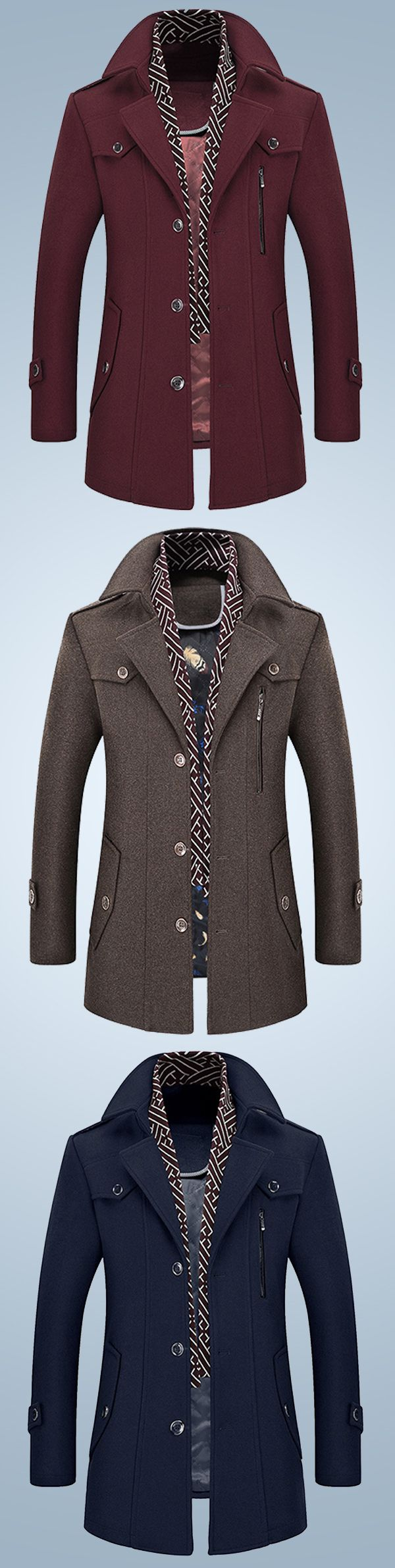 US$84.63 + Free shipping. Size: S~XL. Color: Wine Red, Navy, Brown, Grey. Fall in love with casual and fashion style! Men's Thick Wool Detachable Scarf Trench Coat Casual Business Pea Coat Top Coats. #formal #men