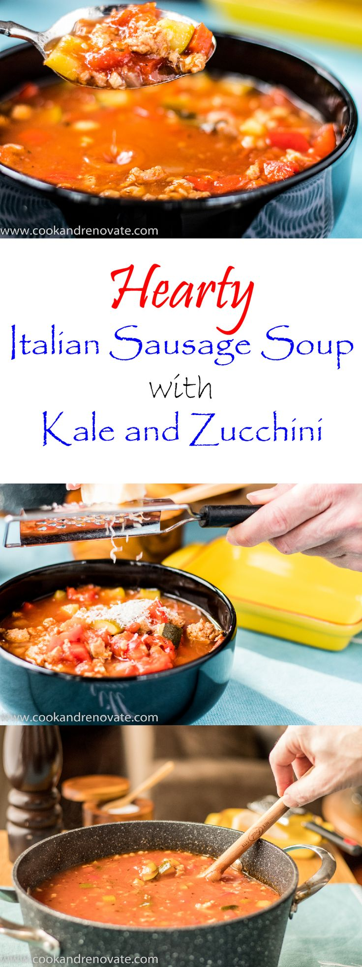Hearty and Healthy Italian Sausage Soup featuring Kale and Zucchini, and fresh ground sausages from our local butcher!  Cook Well!  Eat Well!