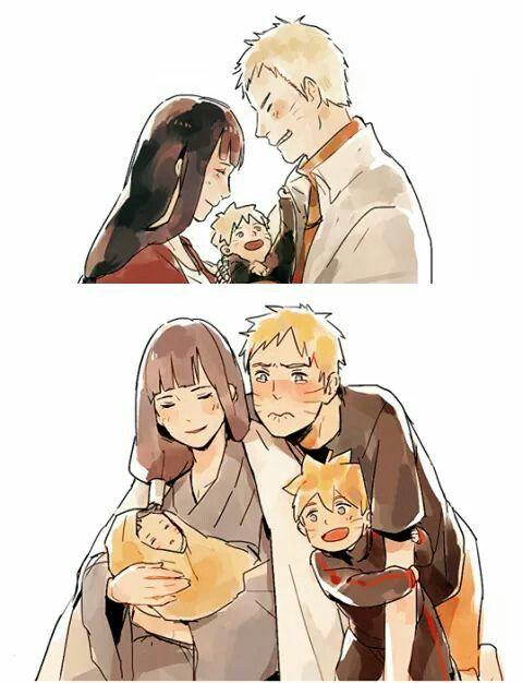 Naruto, Bolt and Himawari and Hinata