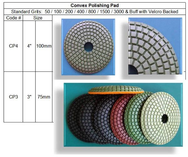 Convex Polishing Pad are designed for curved stone polishing jobs; for fast and easy edge polishing on stone counter tops. Made in Korea guarantees consistent high quality. RM Tech Korea (StoneTools Korea®) email: sales@stonetools.co.kr  http://www.stonetools.co.kr http://stonetools.gobizkorea.com