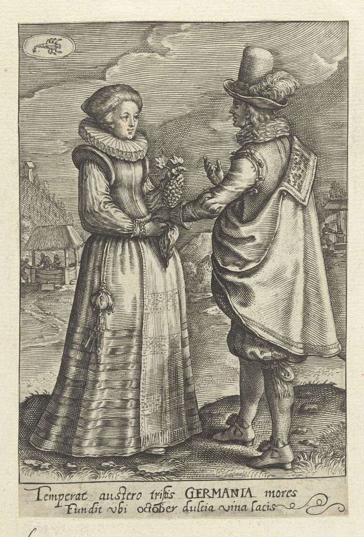 Oktober: paar uit Duitsland, Crispijn van de Passe (II), 1604 - 1670