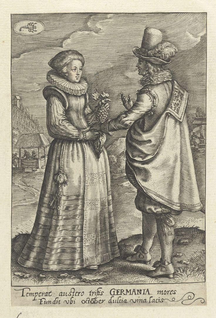 Crispijn van de Passe (II) | Oktober: paar uit Duitsland, Crispijn van de Passe (II), 1604 - 1670 | Man en vrouw, gekleed volgens de Duitse mode van ca. 1620. De vrouw houdt een tros druiven haar linkerhand en een zakdoek in haar rechterhand. De man maakt een spreekgebaar. Op de achtergrond een dorp met een waterput. Linksboven het teken van Schorpioen. In de marge een tweeregelig onderschrift in het Latijn  over de wijn die in de maand oktober  in Duitsland in overvloed aanwezig is.  Prent…