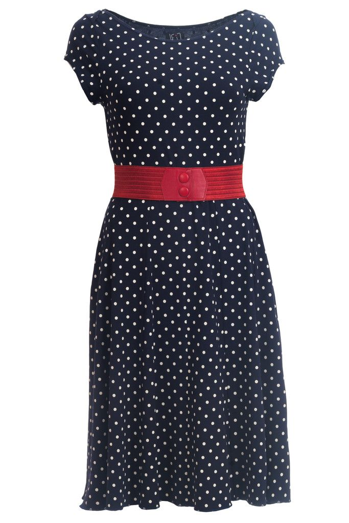 The Celine dress is inspired by the rockabilly trend. The dotted dark blue goes perfectly with the red Waist belt. Just add a tulle skirt and you have the perfect look.
