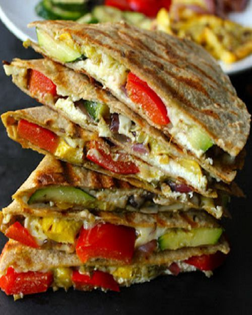 Grilled Vegetable Quesadillas with Goat Cheese and Pesto. A simple healthy meal…
