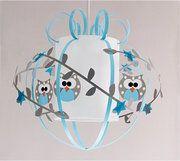 Plafonnier chambre bébé gris bleu : Hiboux, Suspension enfant - Fabrique Casse Noisette