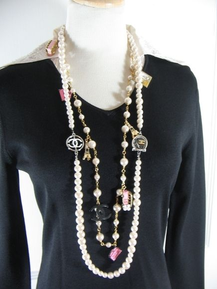 chanel long white pearl eiffel tower charm necklace. Black Bedroom Furniture Sets. Home Design Ideas