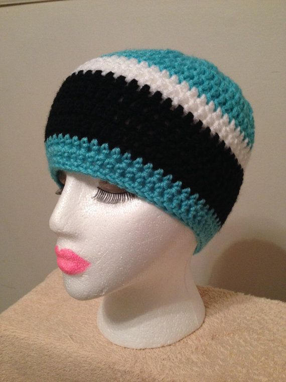 Carolina Panthers Inspired Crochet Beanie Hat. by LiLiDi on Etsy