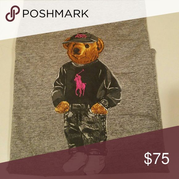 Limited edition Polo Bear t-shirt October's pink pony Heather gray bear tee for breast cancer awareness. $10 from each sale will go to breast cancer research and awareness, so the price is absolutely non-negotiable!! Help support our boobies!! The first 5 t-shirt sales will include a free pink pony tote. Polo by Ralph Lauren Shirts Tees - Short Sleeve
