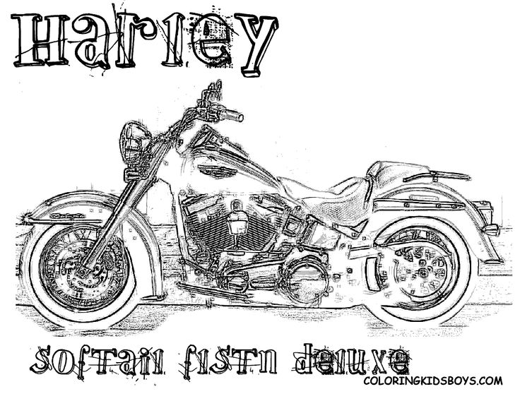 harley 26 softail flstn deluxe coloring pages book - Colouring Pages Of Books