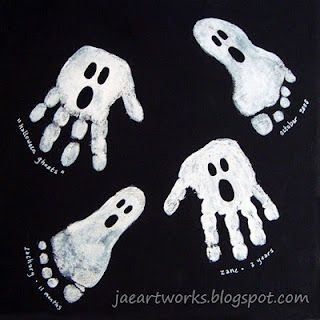 """Hand and footprint ghosts. Great for red ribbon door decorating contest. """"we pledge to step out out of drugs"""""""