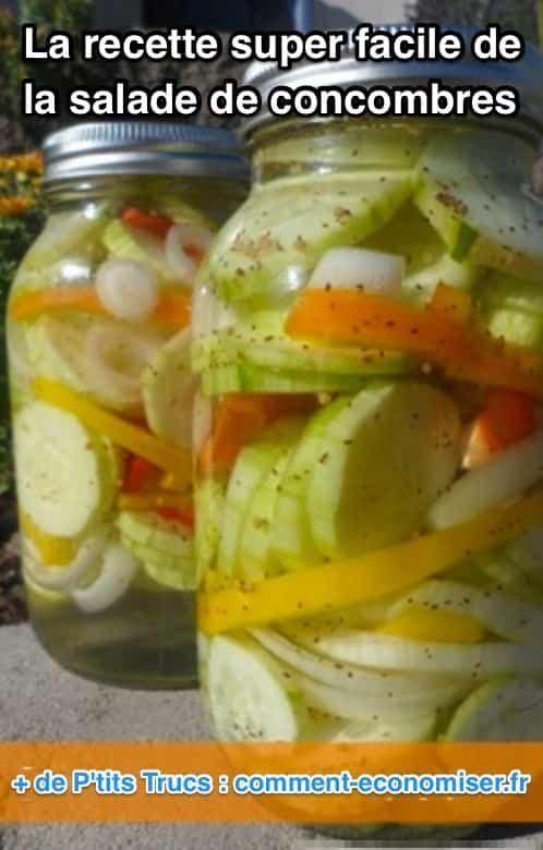 L'avantage de cette salade est qu'elle peut être conservée au frigo pendant plusieurs mois. Vous pouvez utiliser des poivrons verts, jaunes ou rouges.  Découvrez l'astuce ici : http://www.comment-economiser.fr/ultra-facile-a-faire-delicieuse-recette-de-salade-concombres.html?utm_content=buffer2026d&utm_medium=social&utm_source=pinterest.com&utm_campaign=buffer