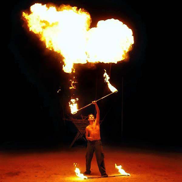 FIRE SPINNING STAFF: 120cm/1200mm (47 inch) with 10cm/100mm (4inch) KEVLAR wicks - $65 - Fyregear AUSTRALIA www.fyregear.com