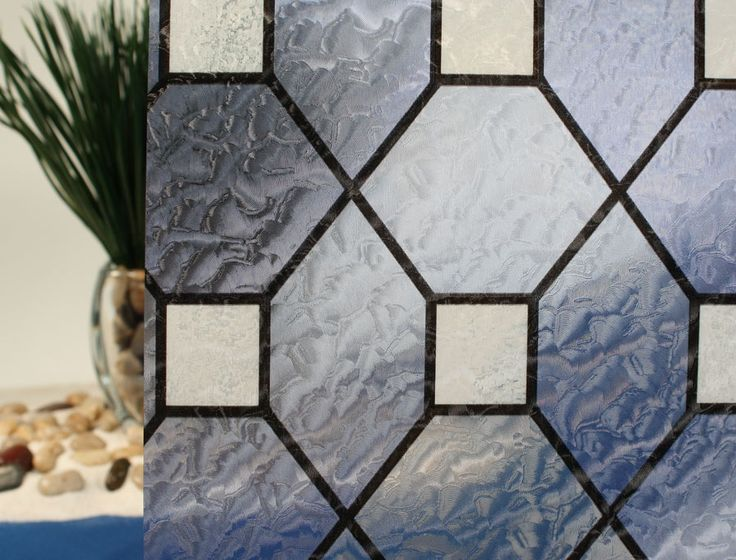 Blue leaded stained glass decorative window film windows for Decorative window film stained glass victorian