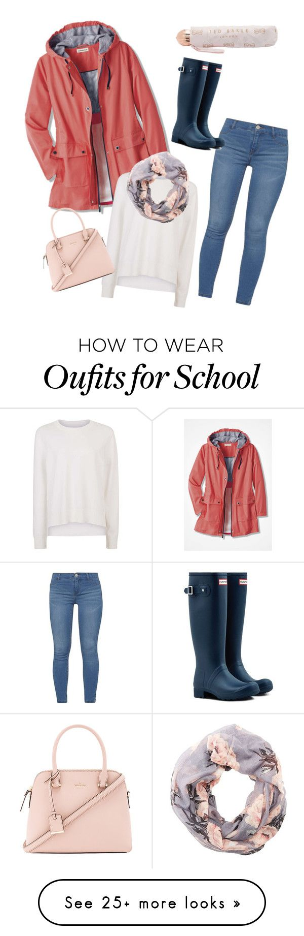 """Rainy day at school"" by martha-are on Polyvore featuring Dorothy Perkins, Sweaty Betty, Charlotte Russe, Ted Baker, Hunter and Kate Spade"