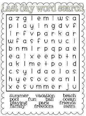 Summer: June: Day at the beach. Here is a free End of Year/Summer word search re-pinned by @thrivingkids