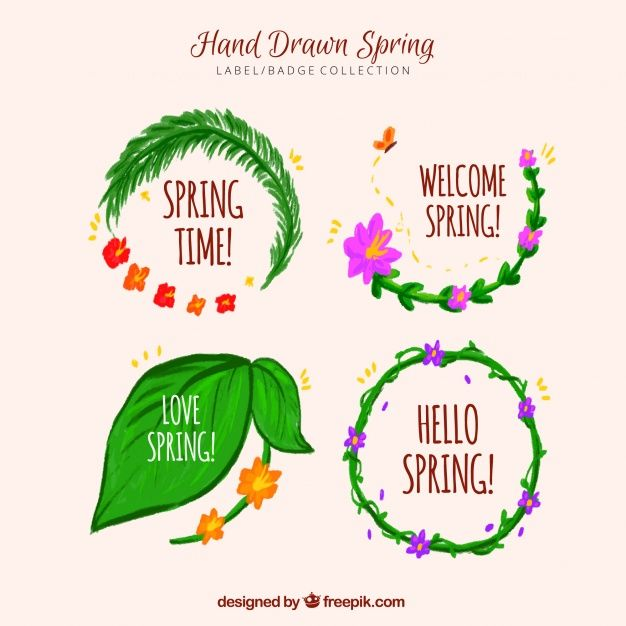 Set of four hand-drawn spring labels Free Vector