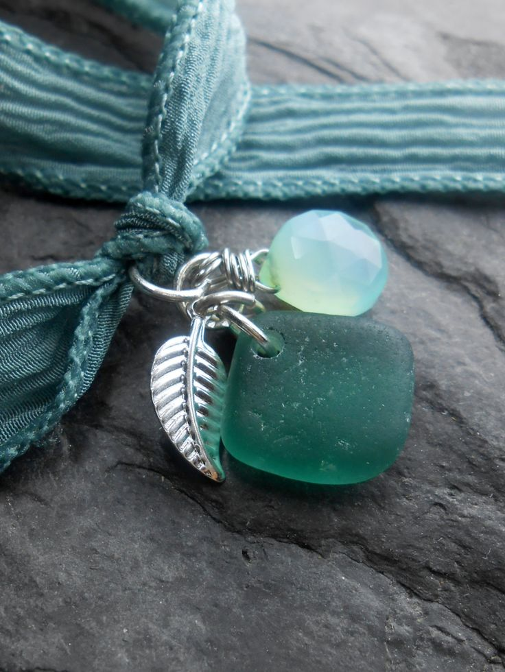 Sea Glass Jewelry -  Silk Ribbon Wrap Charm  Bracelet, Necklace, Or Anklet - Wrap It Up - NEW BEGINNINGS.