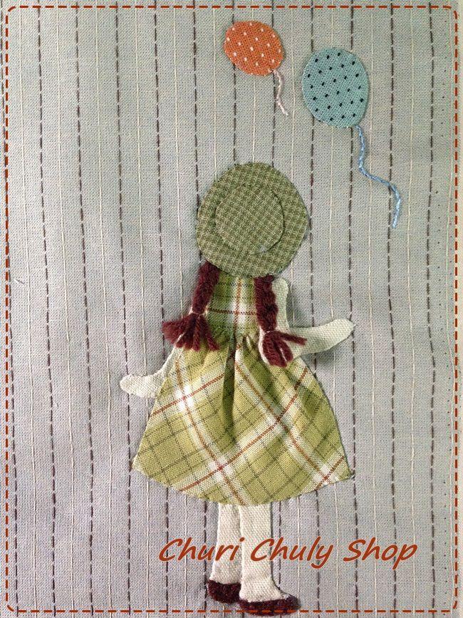 cuadro: niña de espaldas,globos
