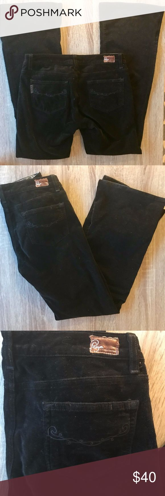 "Paige Hollywood Hills Black Velvet Boot Cut Jeans Black velvet bootcut jeans from Paige Jeans.  These pants have a soft velvet material, zip fly, and five pocket style.  Perfect pants for the winter and holidays.  Excellent used condition.  - Size 28 - Approx. 14.25"" across waist - Approx. 30"" inseam - Approx. 7.5"" front rise - Approx. 9.25"" leg opening Paige Jeans Jeans Boot Cut"