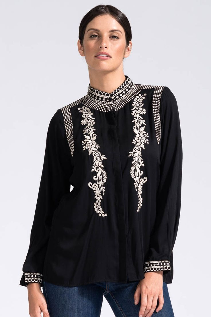 Desert Embroidered Shirt in Black - Bohemian Traders