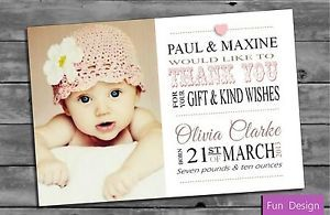 Personalised Baby Girl Thank You Card (Packs of ten) | eBay