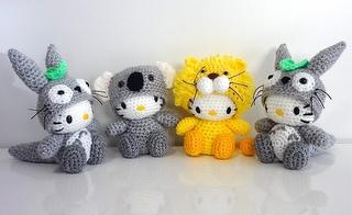 Hello Kitty in Totoro, Lion, and Koala Costume