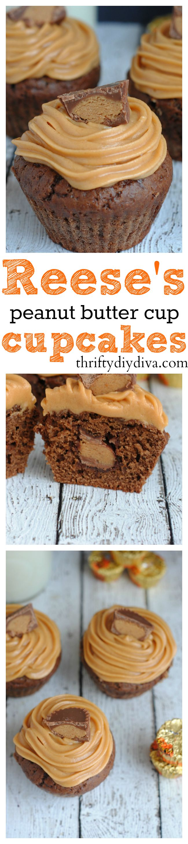 Reese's Peanut Butter Cup Cupcakes and Peanut Butter Frosting - your kids will love it, hubby will love it, and that means you'll need to make 2 batches!!